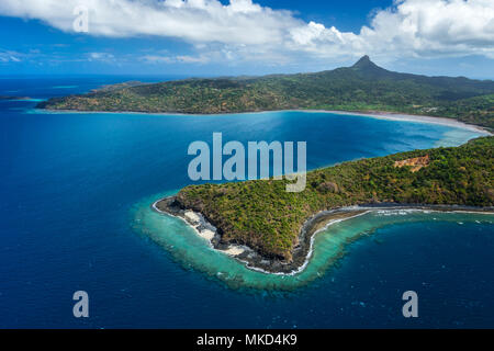 Aerial view of Saziley Point surrounded by its fringing reef. Mayotte, Indian Ocean - Stock Photo