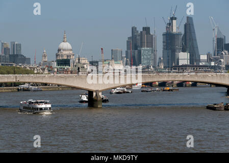 River Thames, London UK. 2018. An overview of the River Thames across Waterloo Bridge toward the City of London. - Stock Photo