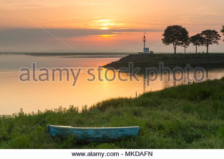 Sunrise on the quays of the Somme in Saint-Valery-sur-Somme in summer, Baie de Somme, Hauts-de-France, France. - Stock Photo
