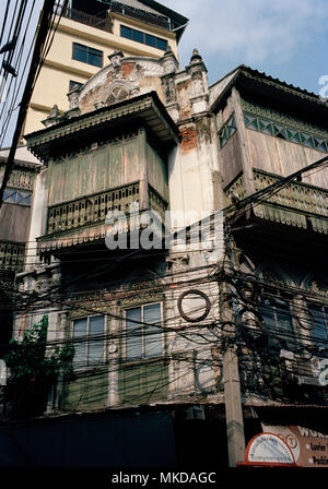 Thai Buildings - Shophouse building in Chinatown in Bangkok in Thailand in Southeast Asia Far East. Shophouses House Chinese Architecture Travel - Stock Photo