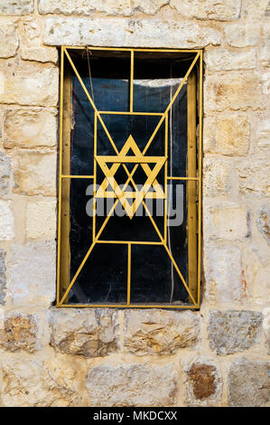 Window grate with Star of David, Jerusalem, Israel, Asia - Stock Photo