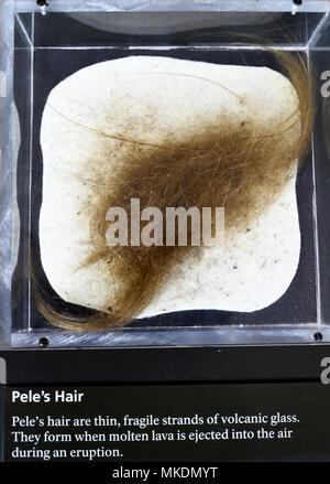 Peles Hair. Strands of volcanic glass that form when molten lava is ejected into the air during an eruption. - Stock Photo