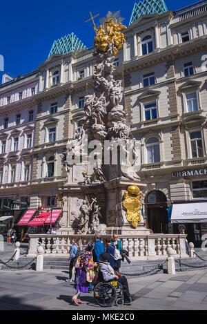 Plague Column also called Trinity Column erected after Great Plague epidemic in Vienna, Austria - Stock Photo