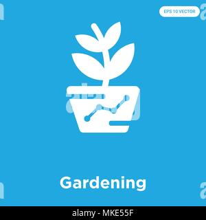 Gardening vector icon isolated on blue background, sign and symbol - Stock Photo