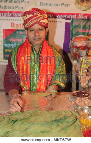 Paan seller prepares paan for a customer at his shop in Gangtok Sikkim, India. - Stock Photo