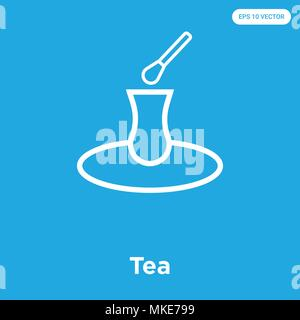 Tea vector icon isolated on blue background, sign and symbol - Stock Photo