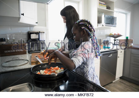 Mother and daughter preparing and cooking vegetables at kitchen stove - Stock Photo