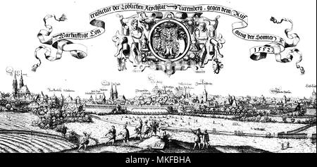 Nuremberg, city view in XVI century by Hans Sebald Lautensack, German printmaker - Stock Photo