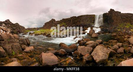 Thingvellir waterfall Iceland - Stock Photo
