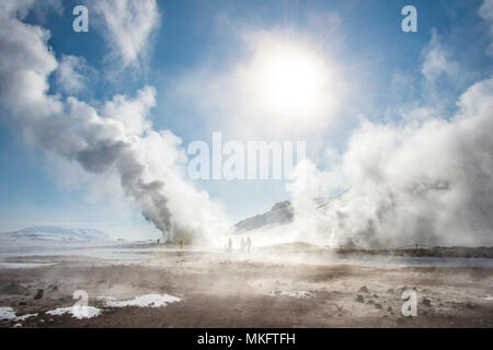 Fumaroles, rising steam, geothermal area Hverarönd, also Hverir or Namaskard, Northern Iceland, Iceland - Stock Photo