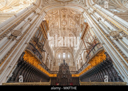 Choir, decorated and gilded choir stalls with vaulted ceilings, Mezquita-Catedral de Córdoba or Cathedral of the Conception of - Stock Photo