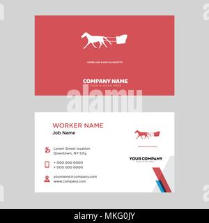 horse and sleigh business card design template, Visiting for your company, Modern horizontal identity Card Vector - Stock Photo