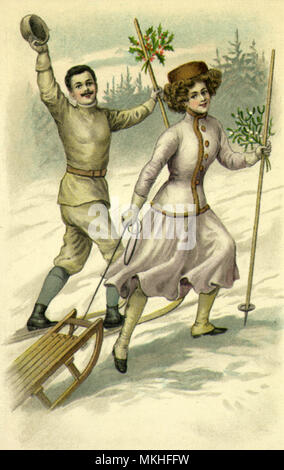 Couple Bearing Holly Carry Sled up Hill - Stock Photo