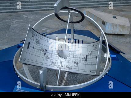 Equatorial sundial with astral signs on Schwanenplatz, Lucerne, Switzerland, Europe - Stock Photo