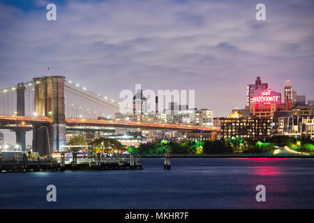 NEW YORK - USA - 29 OCTOBER 2017. View of Manhattan skyline illuminated at dusk over the Hudson River. New York City, USA. - Stock Photo