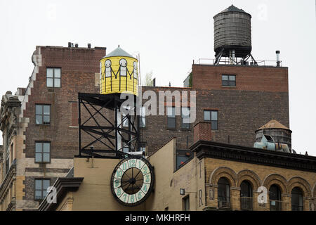 NEW YORK - USA - 29 NOVEMBER 2017. Close-up view of New York skyscrapers with water tanks on the roof of some buildings. Fall season in Manhattan, USA - Stock Photo