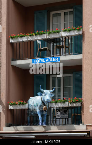 Blue cow on the balcony of a room at the Hotel Adler in Zurich, Switzerland, Europe - Stock Photo