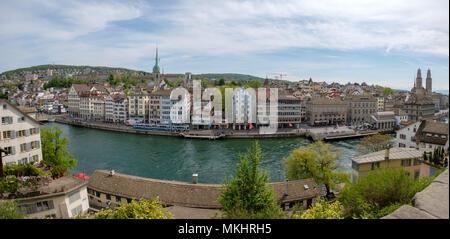 Panoramic view of the skyline from the Lindenhof hill, Zurich, Switzerland, Europe - Stock Photo