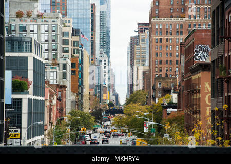 NEW YORK - USA - OCTOBER 30, 2017: View from the High Line, Street traffic and buildings in Chelsea, New York, USA. - Stock Photo