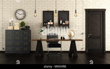Home office in retro style with wooden desk, black cabinet and old door - 3d rendering - Stock Photo