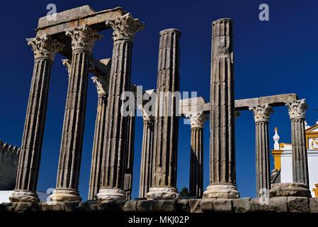 Ruins of roman temple in Unesco World Heritage town Évora - Stock Photo