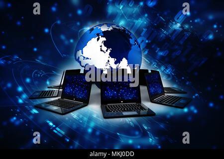 3d rendering Computer network, Global Internet Concept - Stock Photo
