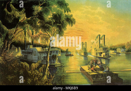 Boats on Mississippi - Stock Photo