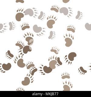 Footprint paws of a bear - Stock Photo