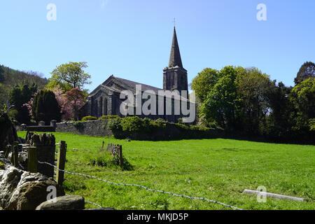 Lezayre Church, Churchtoen, Ramsey Isle of Man - Stock Photo