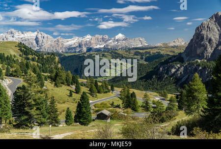 View from the Gardena pass via the Val Badia and to Pralongia Fanes Group, Dolomites, Ansicht vom Grödner Joch über das Gadertal zu Pralongia und Fane - Stock Photo