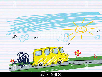 illustration of a school bus drawn in child style - Stock Photo