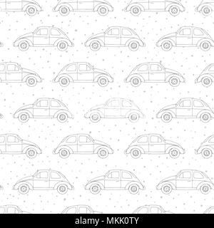 Hand drawn vector seamless pattern with retro cars outline on the polka dot background. Vintage design. - Stock Photo