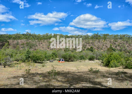 Bush camping in the wilderness near the ghost town of Maytown, Far North Queensland, FNQ, QLD, Australia - Stock Photo