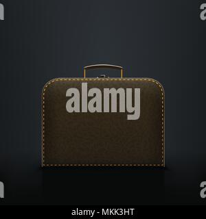 briefcase on black - Stock Photo