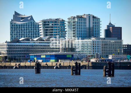 Elbe philharmonic hall, residential buildings and modern office buildings in Hamburg, Germany - Stock Photo