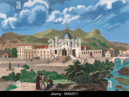Sanctuary and Basilica of San Ignacio de Loyola, Azpeitia, province of Guipuzcoa, Basque Country, Spain. It was designed by Carlo Fontano, student of Bernini. The construction began in 1689 and was completed by the brothers Ignacio and Francesco de Ibero. Engraving, 19th century. Later colouration. - Stock Photo
