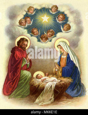 Nativity with Angels - Stock Photo