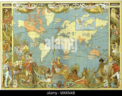 Map of the British Empire in 1886 - Stock Photo