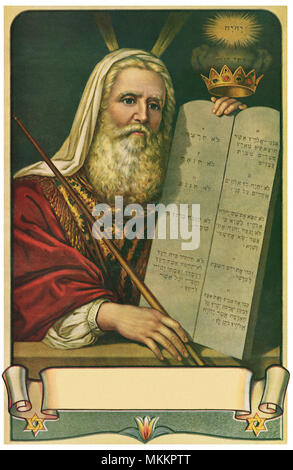 Moses and 10 Commandments - Stock Photo