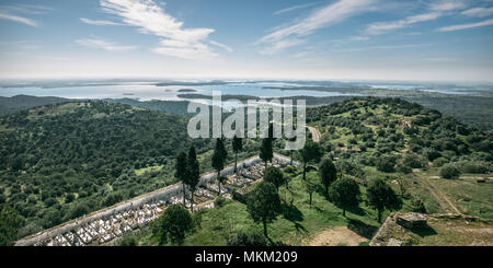Aerial panoramic view of Monsaraz with the cemetery integrated on the landscape. - Stock Photo