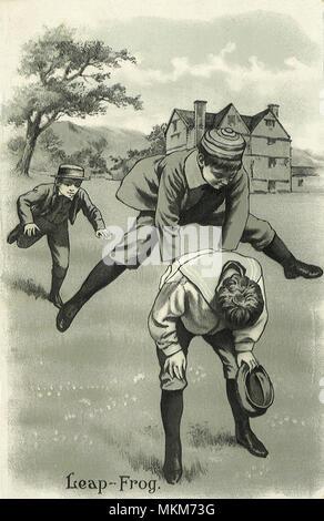 Boys Playing Leapfrog - Stock Photo