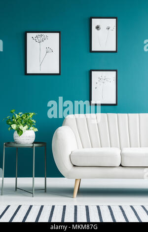 Cropped photo of a white sofa in living room interior with metal table with a plant and paintings on the green wall - Stock Photo
