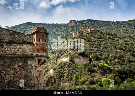 Ramparts of Villefranche-de-Conflent in front of Fort Liberia, Pyrenees-Orientales, France - Stock Photo