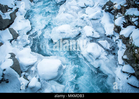 iceland travel (glacier, northern lights, snow, ice, iceberg) - Stock Photo