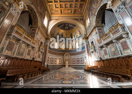 ROME, ITALY, MARCH 09, 2018: Horizontal picture of the amazing decoration of Archbasilica of St John Lateran located in Rome, Italy - Stock Photo