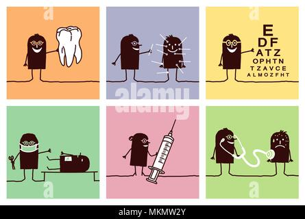 Cartoon Silhouette Characters - Medical Set 2 - Stock Photo