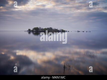 Reflections over Lough Mask County Mayo Ireland - Stock Photo