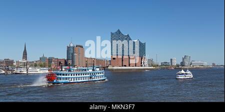 paddle-steamer Louisiana Star passing Elbe Philharmonic Hall, Harbour City, harbour, Hamburg, Germany - Stock Photo