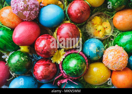 Painted and decorated easter eggs, colorful and abstract composition