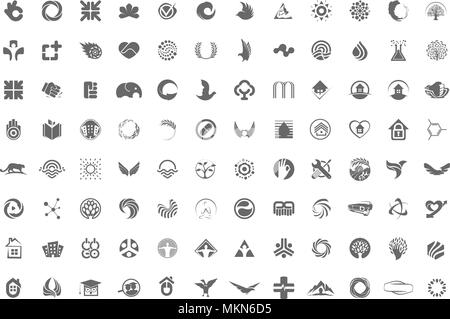 A huge collection of trendy, unusual symbols, icons or logos in one collection on a white background. Minimalist vector design elements signs. - Stock Photo